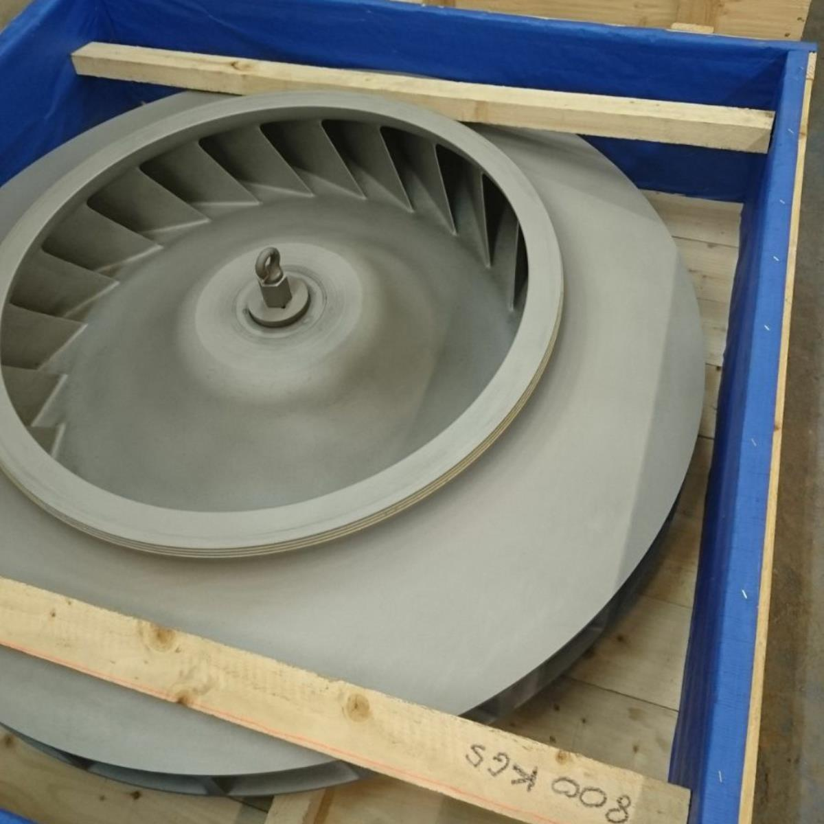 One of a number of large turbines for aluminium oxide blasting