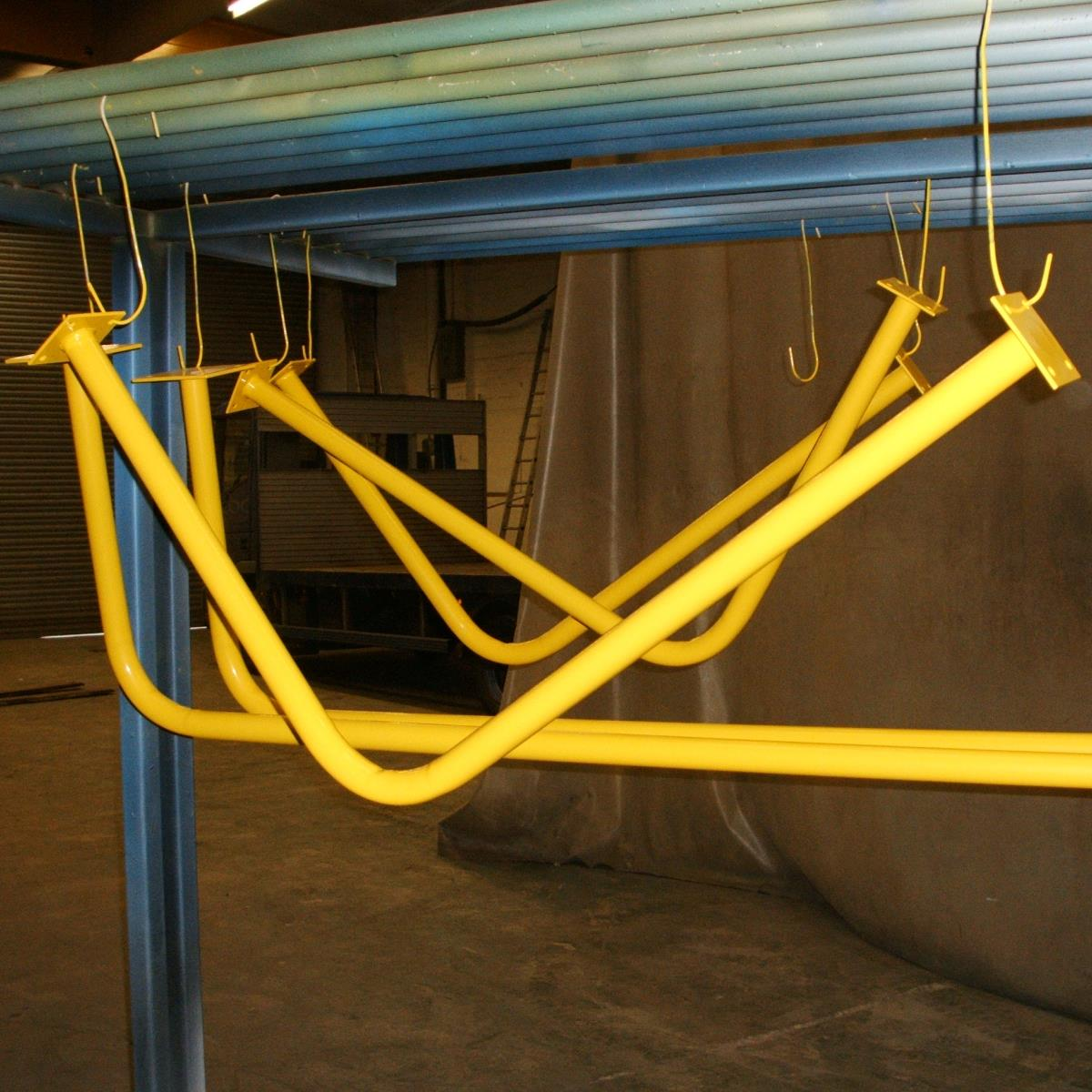 Powder coated bus handrails for Bus and Coach World, Blackburn