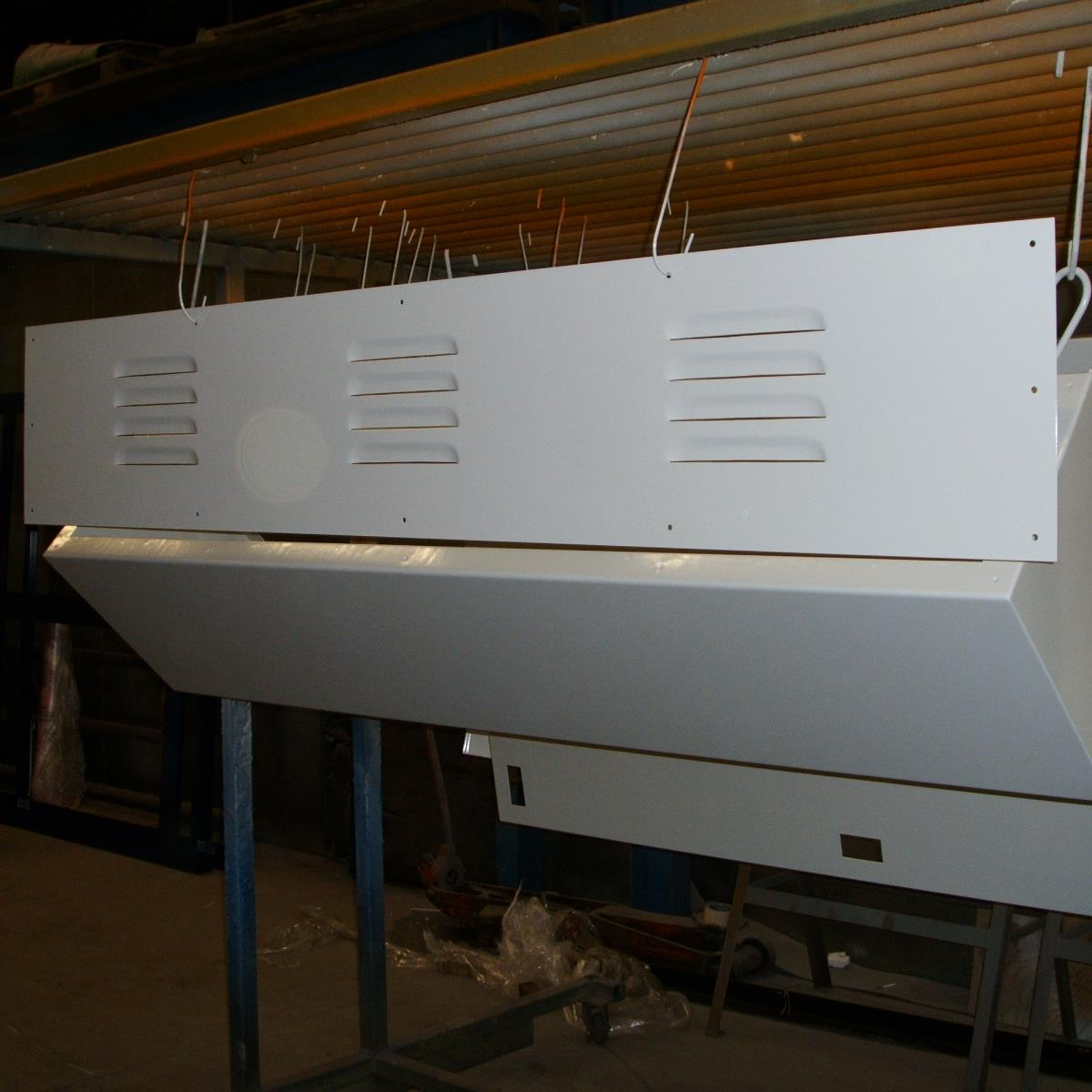 Powder coating of vented cover panels for Bradshaw Sheet Metal of Bolton
