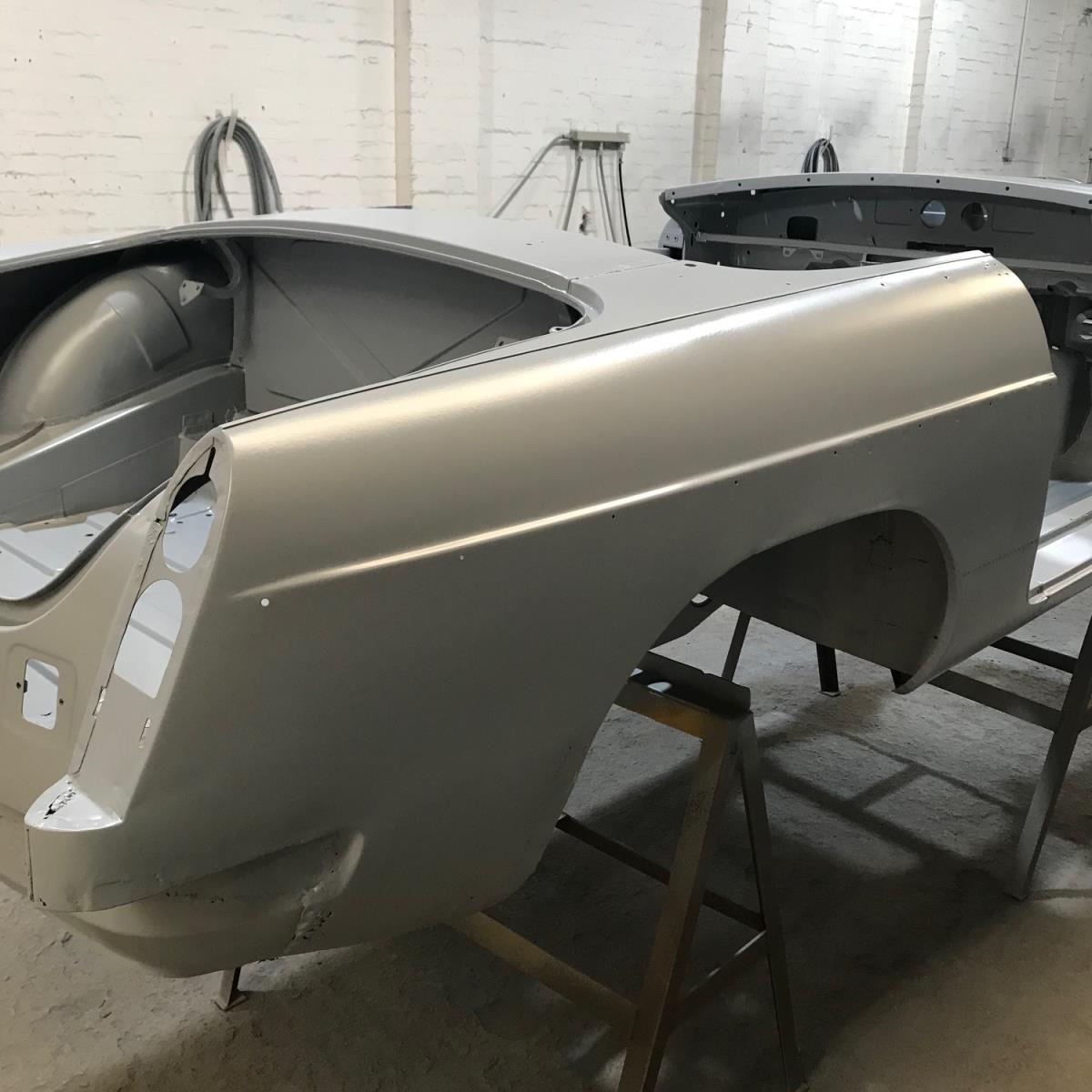 Zinc phosphate primed restored MGB shell drying before collection